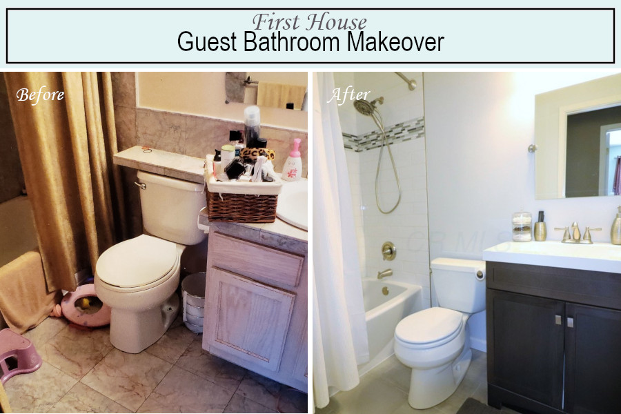 Before and after photos of the guest bathroom