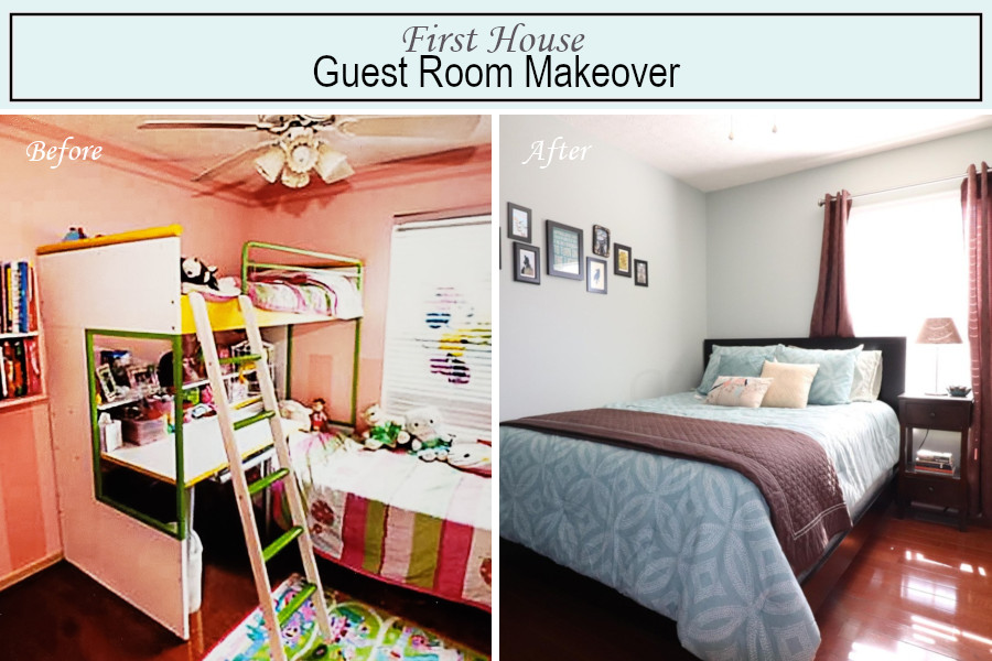 Before and after photos of the guest bedroom
