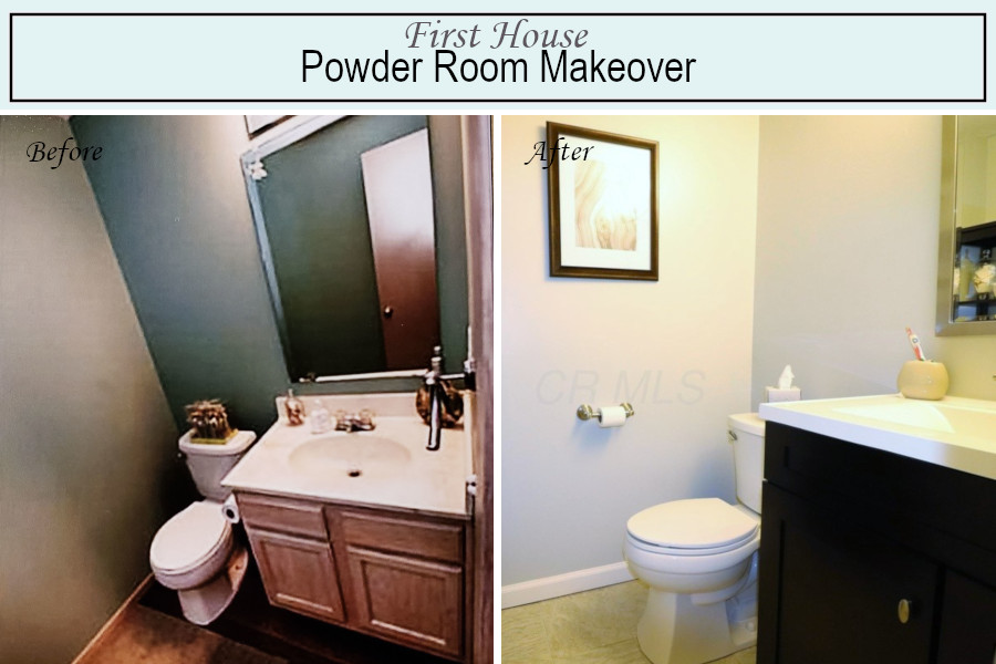 Before and after photos of the powder room