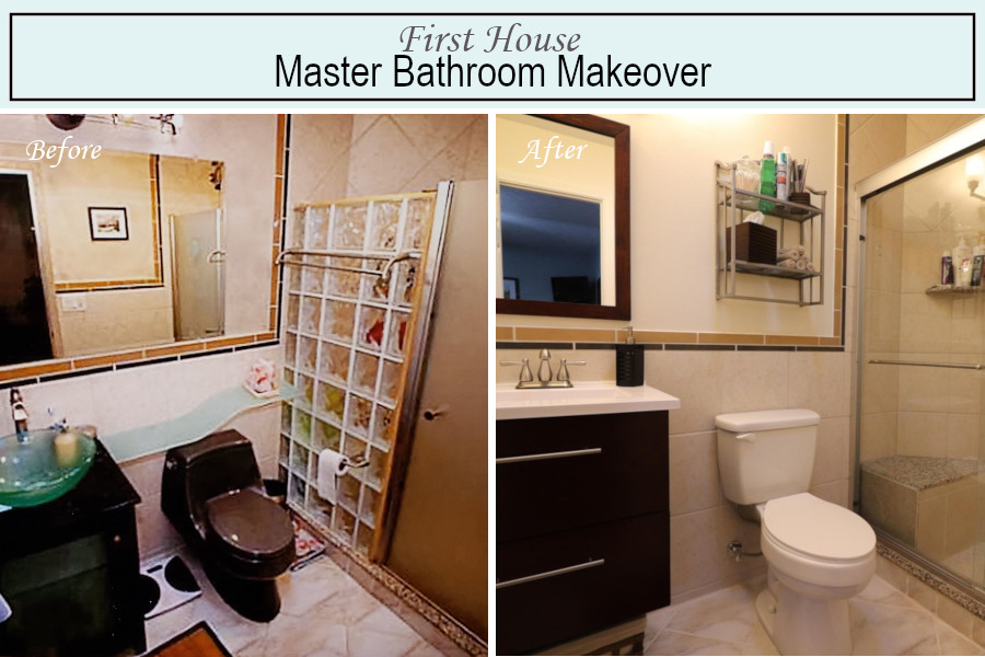 Before and after photos of the master bathroom