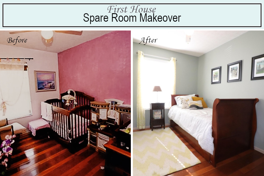 Before and after photos of the spare bedroom