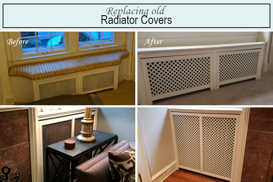 Before and after photos of the radiator covers in the living room and on the landing