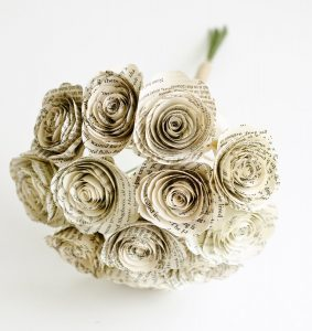 Paper flowers made from Harry Potter book pages by AnthologyonMain