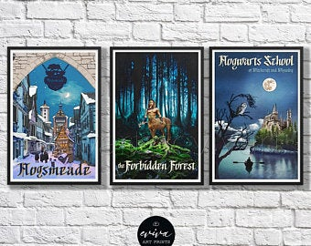 Vintage Harry Potter-inspired travel posters by Evivart