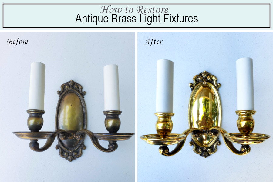 Before and after photos of sconce restoration