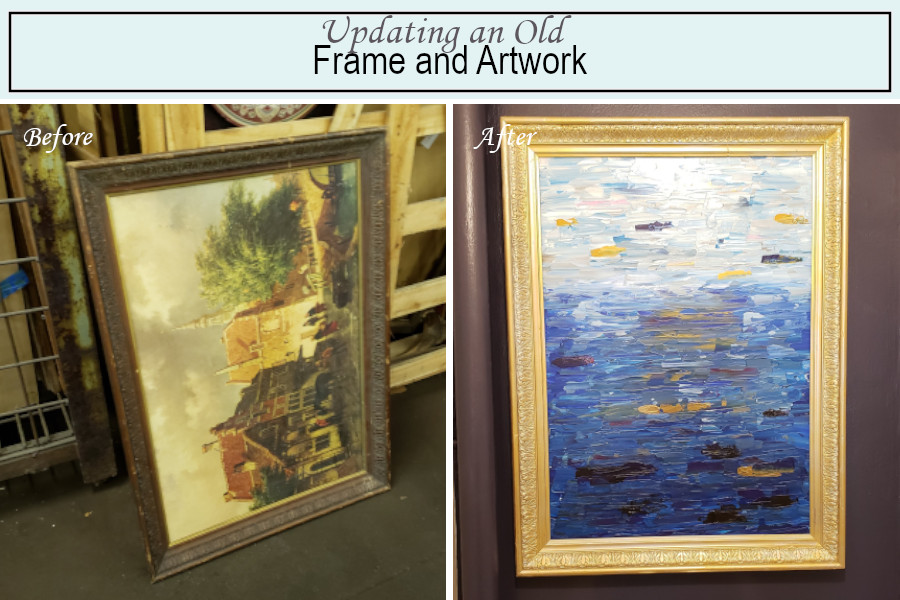 Before and after photos of my vintage frame and artwork update