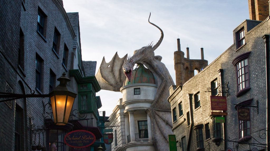 Diagon Alley and the dragon atop Gringotts