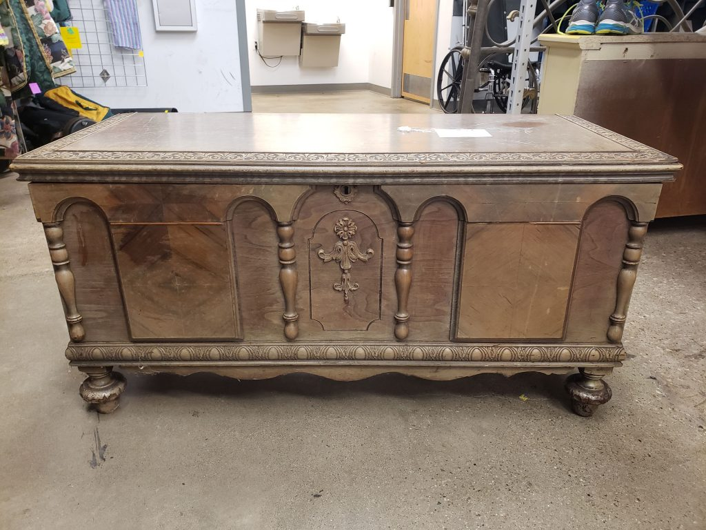 The vintage cedar chest 'before' photo