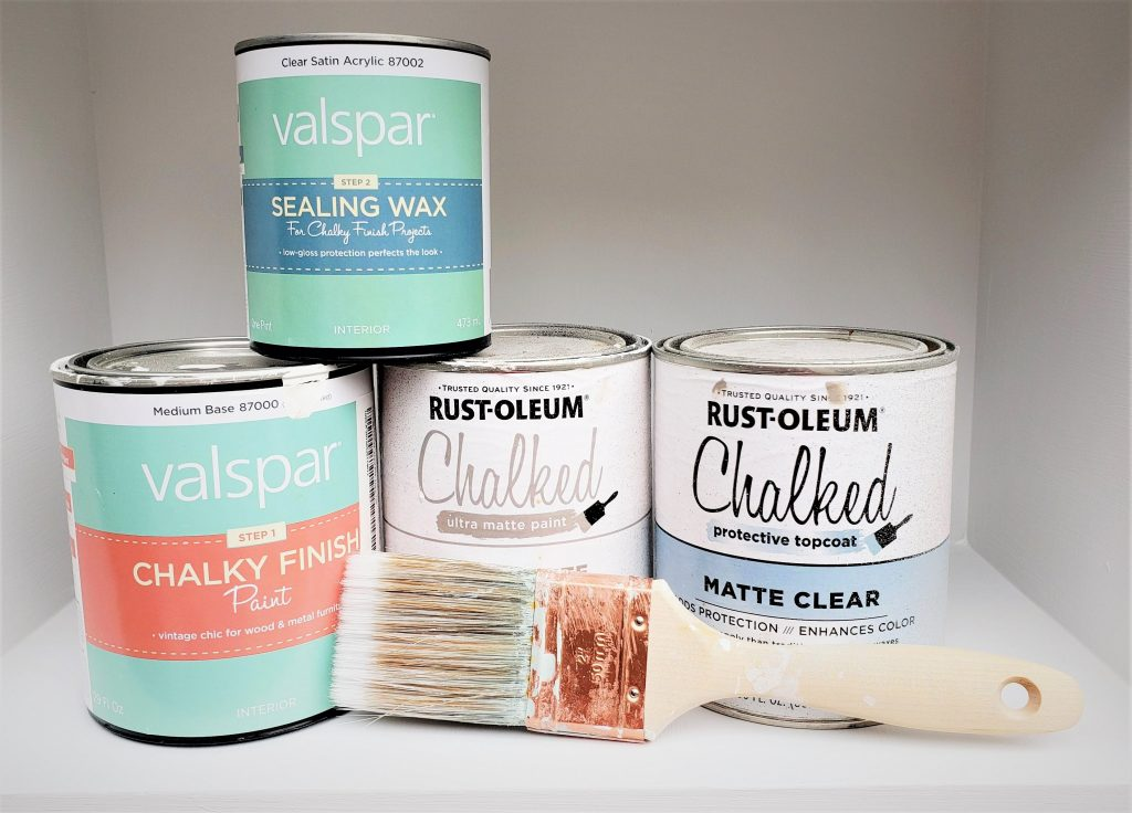 Rustoleum Chalked paint and Valspar Chalky Finish paint
