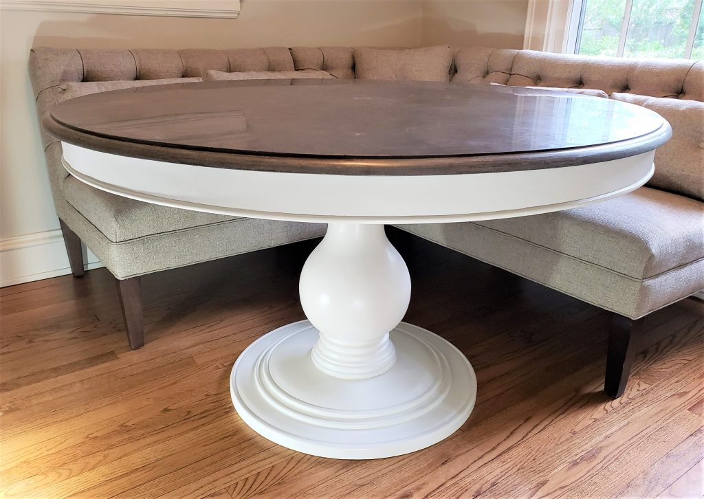 The finished Arhaus Loft dining table makeover