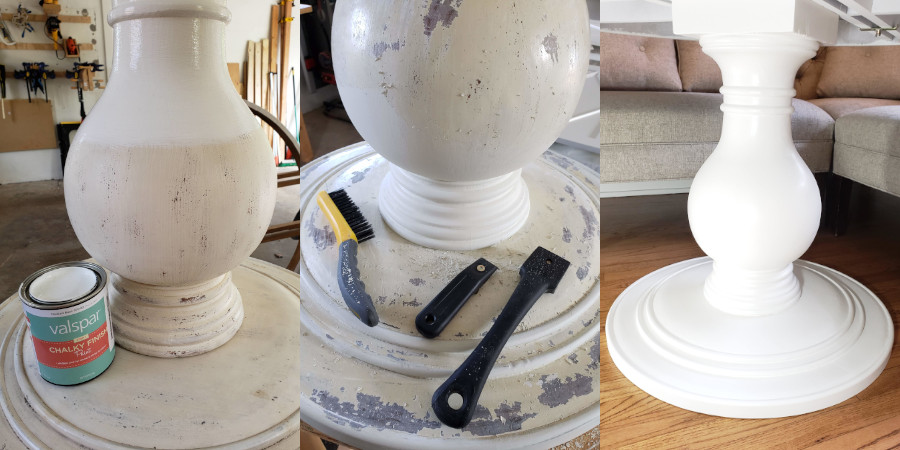 The phases of painting the base: applying chalk paint, removing chalk paint, and after being repainted.