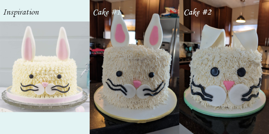 A side-by-side comparison of the three Easter bunny cakes