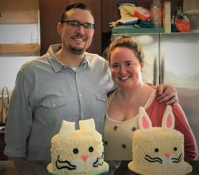 Brian and I with our finished Easter bunny cakes.