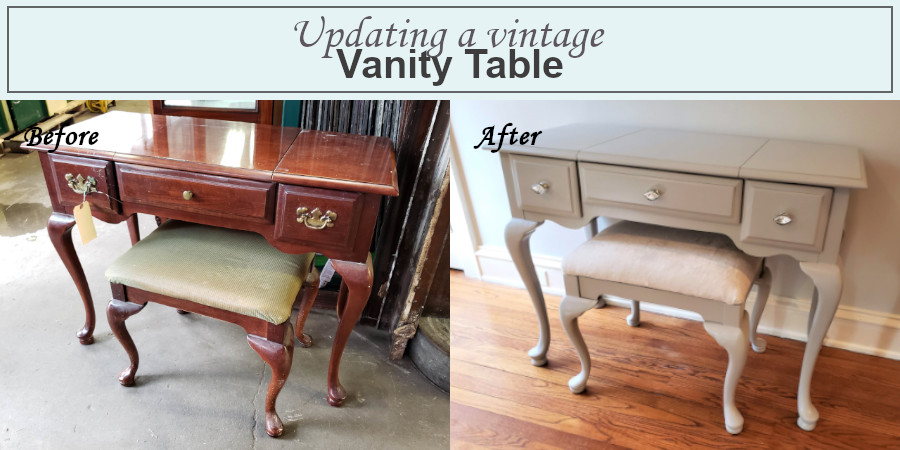 vintage vanity before and after