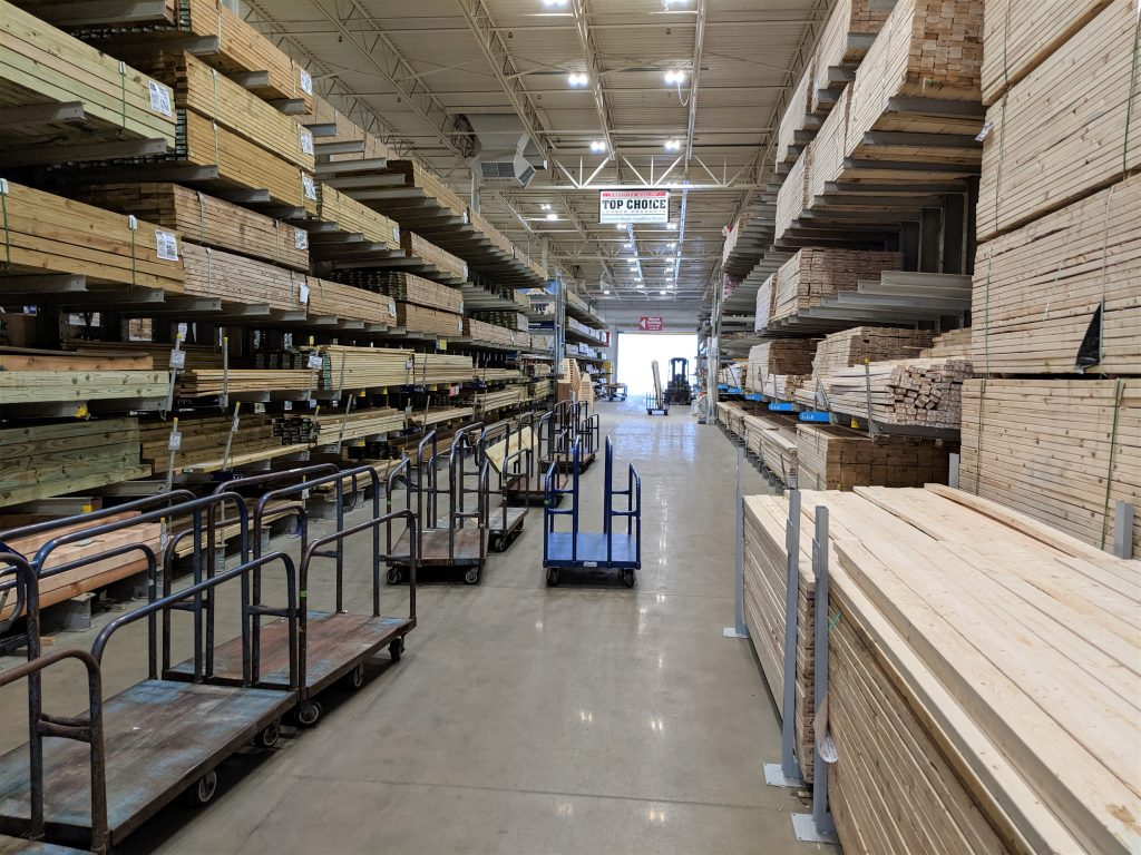 One of the lumber aisles at the local Lowe's home improvement store