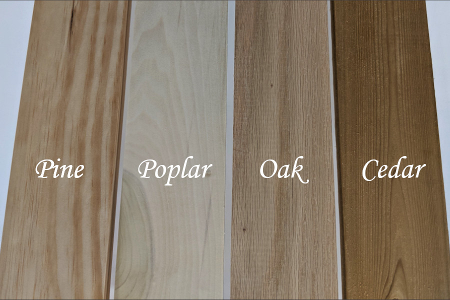 Photo of different wood species available at most home improvement stores