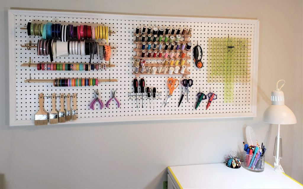 The finished pegboard in the craft room