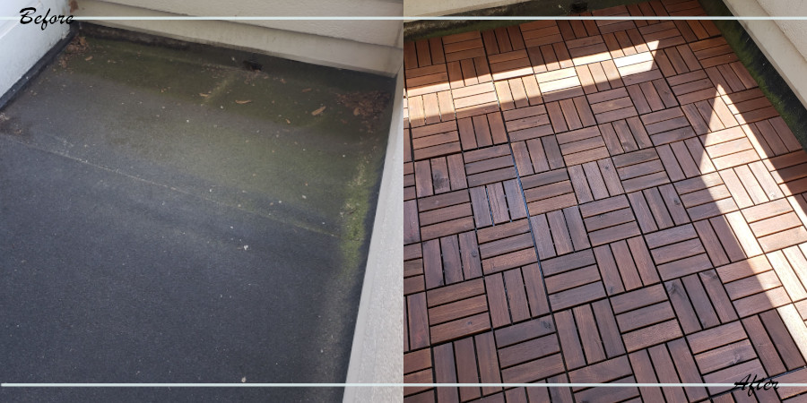 Balcony before and after decking installation