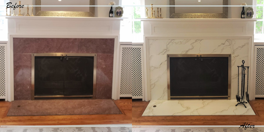 Before and after the fireplace refacing