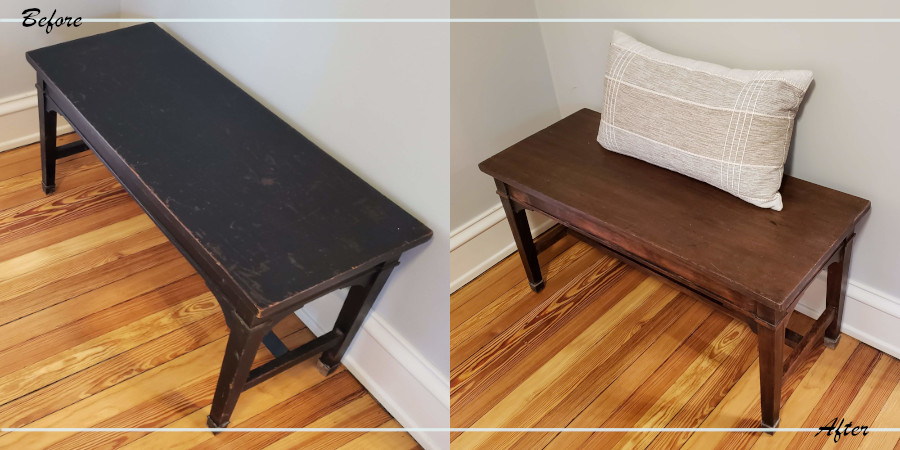 Vintage piano bench before and after