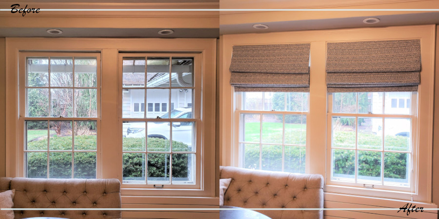 Before and after photo of the morning room windows