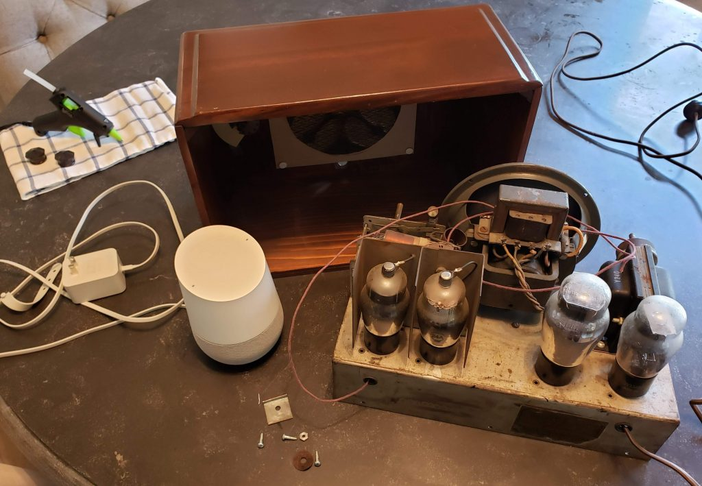 The antique radio with the internal parts removed
