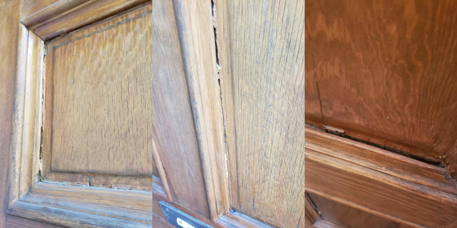 The damage and deterioration of the front door