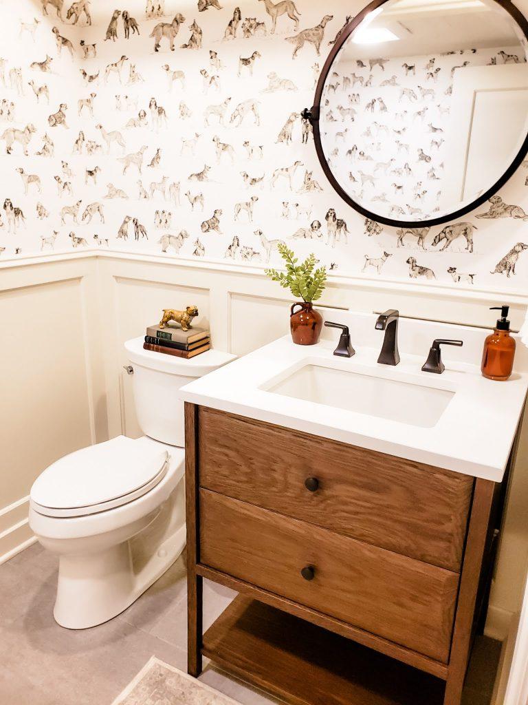 the finished basement bathroom