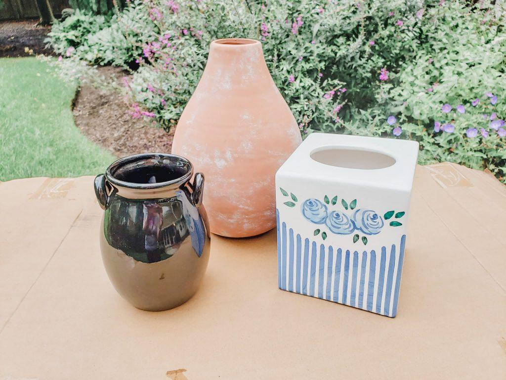 The original vases and tissue box cover